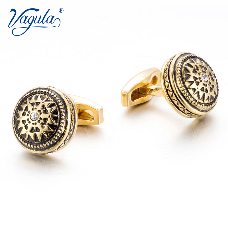VAGULA Classic Gold-Color Plated Rhinestone Copper Black Painting Men's Cufflink Wedding Suit Shirt Buttons Cufflinks 51612