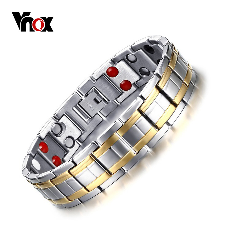 Vnox Stainless Steel Healthy Magnet Bracelet Men Jewelry Bio Energy Magnetotherapy Father's day Gift amezcua energy bio disc 2 bio energy disc healthy water maker increasing nutrition cell detoxification bio quantum liquid glass