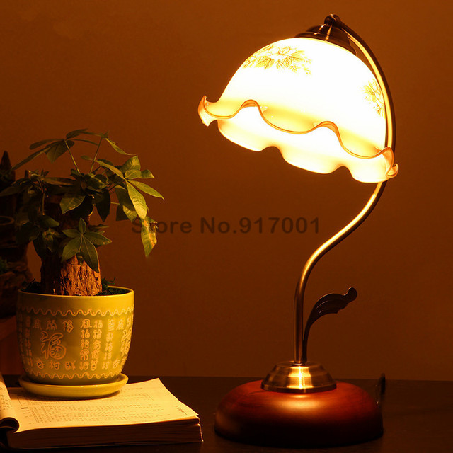 Antique Living Room Study Room Vintage Table Lamp Retro Rubber Wood Table  Lamp Dimmer Switch