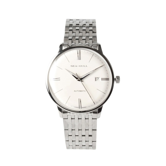 Seagull 10mm Thin Anti Glare Domed Sapphire Crystal Roman Numerals Exhibition Back Automatic Mens Dress Watch 816.519
