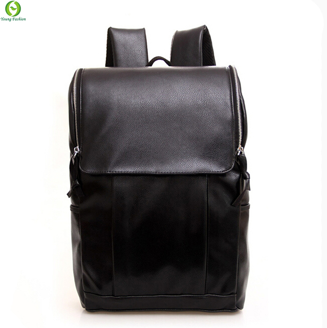 Fashion Tender 2017 Waterproof men backpack leather bags Restore ancient ways travel backpack bag black men high school students