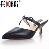 FEDONAS 2018 New Women Sandals Brand Design Genuine Leather Shoes Woman Summer Elegant Slippers Bowtie Wedding