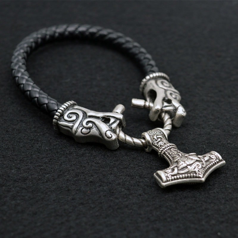 Wolf Charm Bracelet: 1pcs Medieval Thor Hammer Mjolnir Viking Amulet Bracelet