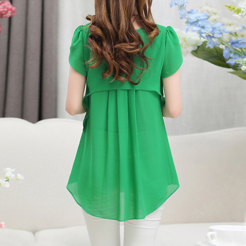 2018 Womens Short Sleeve Blouse Peplum Summer Tops Ladies Long Office Shirts Plus Size Ruffle Blouse Femme Blouses & Shirts