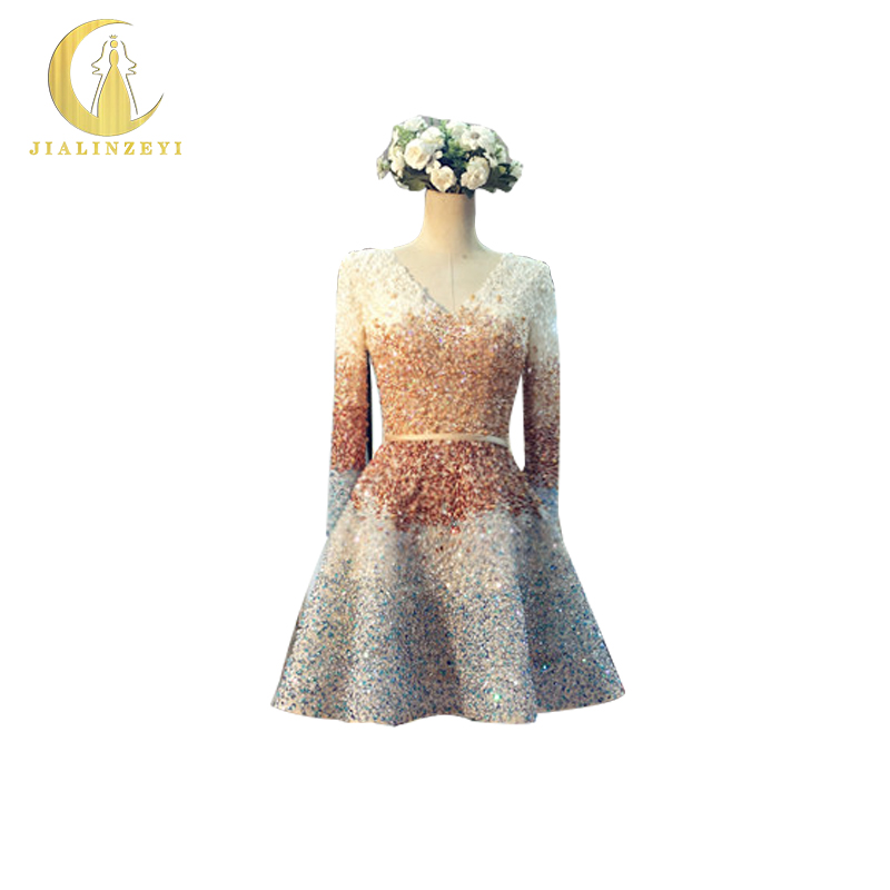 JIALINZEYI Sexy Fashion Long Sleeves Sequins Luxurious Champagne V Neck Elie Saab Knee Length Sexy Party Dresses Prom Dresses