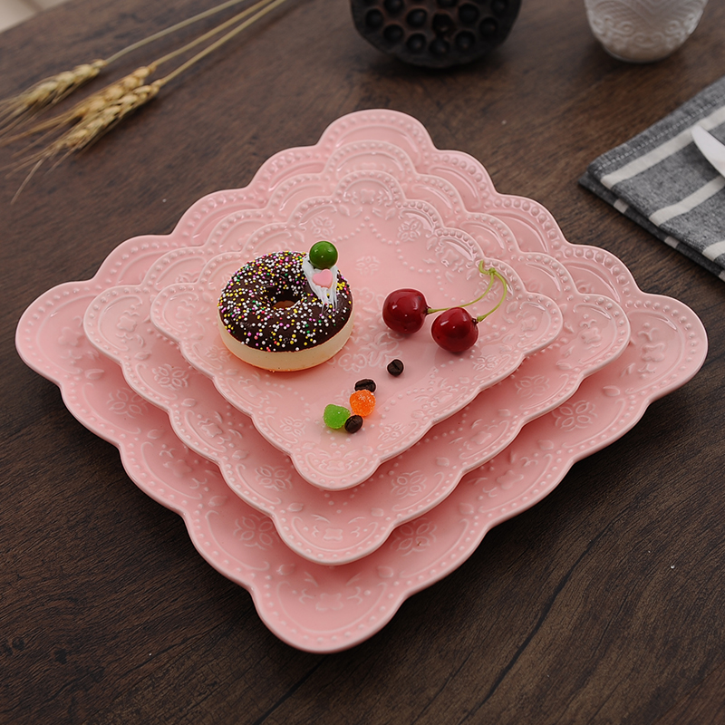Multi-color 3pcs/set butterfly Steak Plate Ceramic Square Western Dish Porcelain Pancakes dish afternoon tea fruit plate wedding