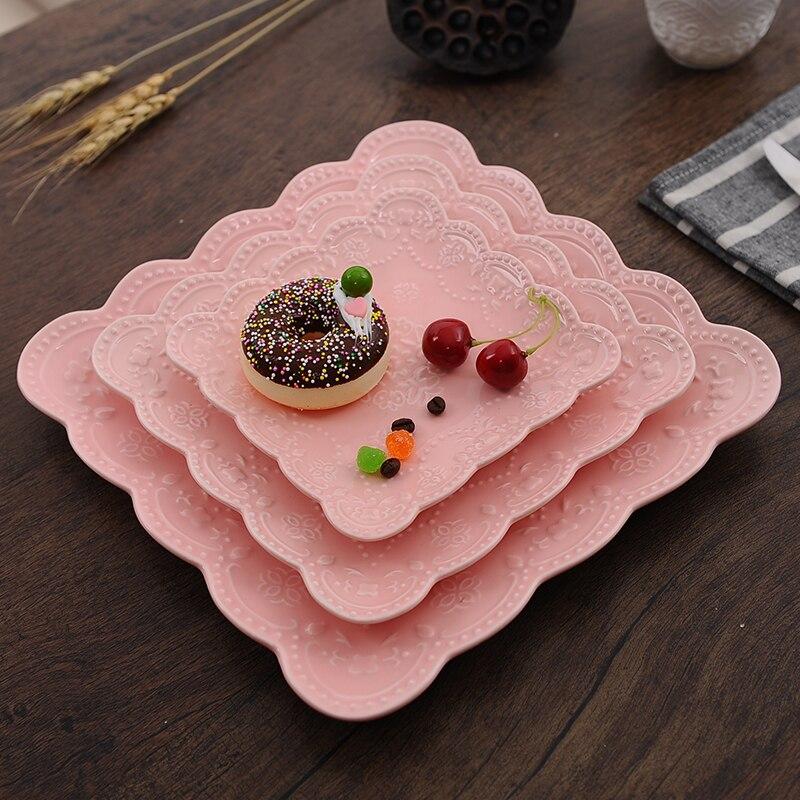 Assiette à Steak papillon en céramique | Plat occidental carré en porcelaine, assiette à crêpes en porcelaine, assiette à fruits et thé de l'après-midi mariage 3 pièces/ensemble