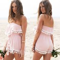 Caliente de la manera de las mujeres fuera del hombro rosa corto del mameluco del mono playsuit playa