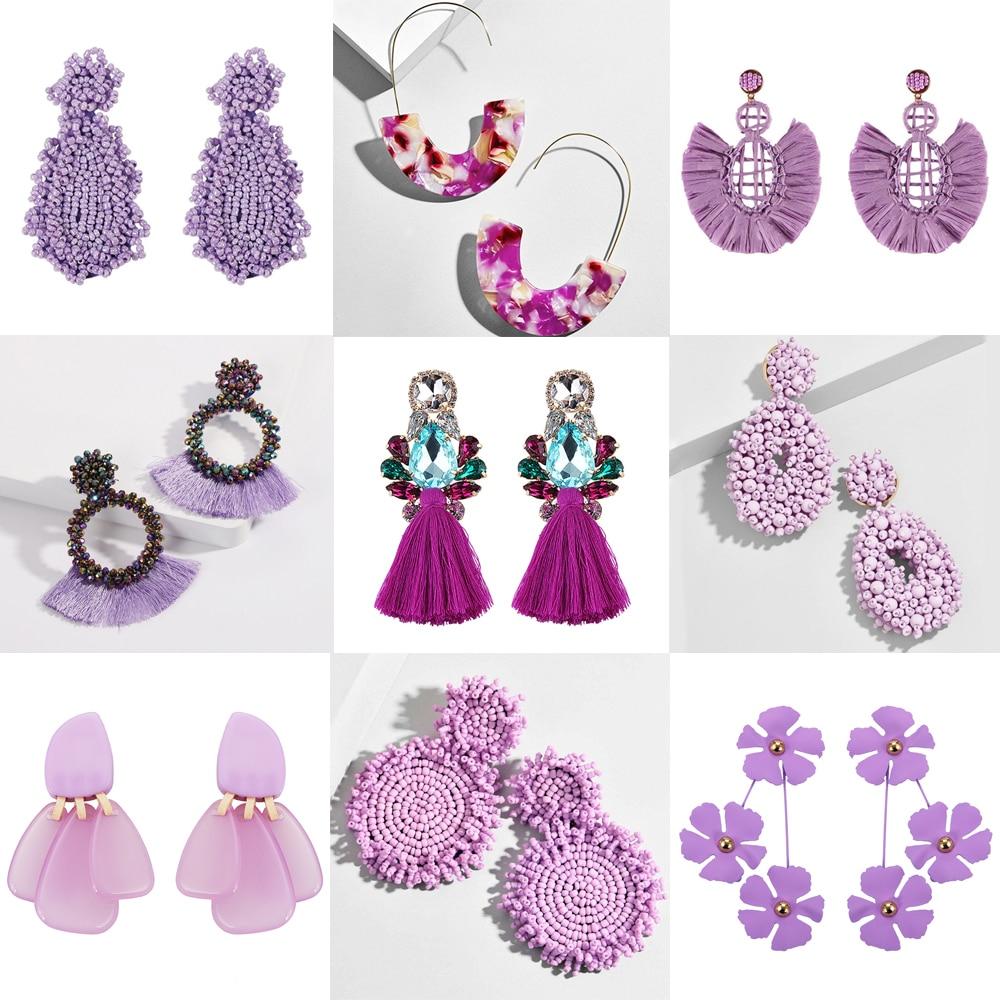 Best Lady Trendy Purple Beaded Tassel Earrings For Women Handmade Flowers Heart Fringed Stud Earrings Party Dangle Jewelry Gift