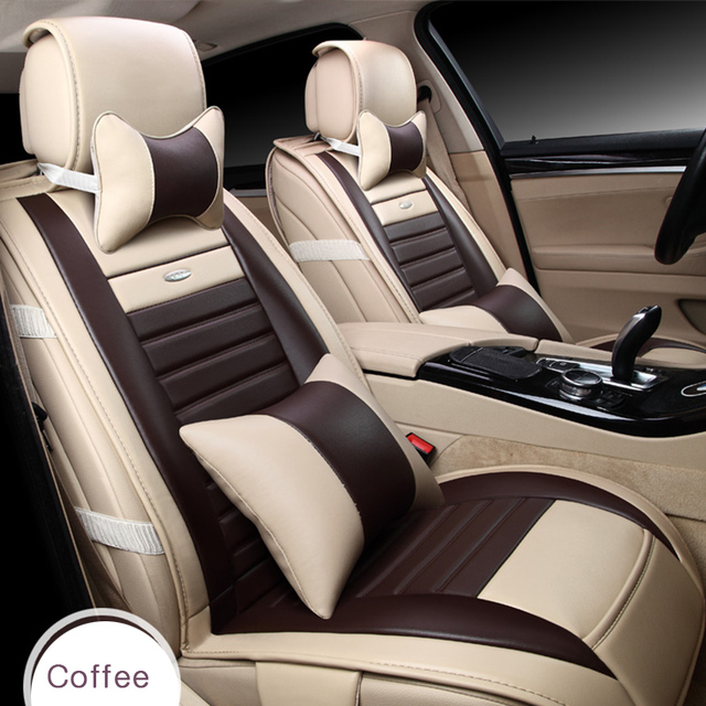 9pcs Set Coffee Color PU Leather Universal Auto Car Seat Covers Automobile Cover Chair