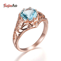 Szjinao Victoria Carving Flower Luxury Wedding Ring Rock Overwatch 14 K Rose Blue Crystal Jewelry Custom Processing Wholesale