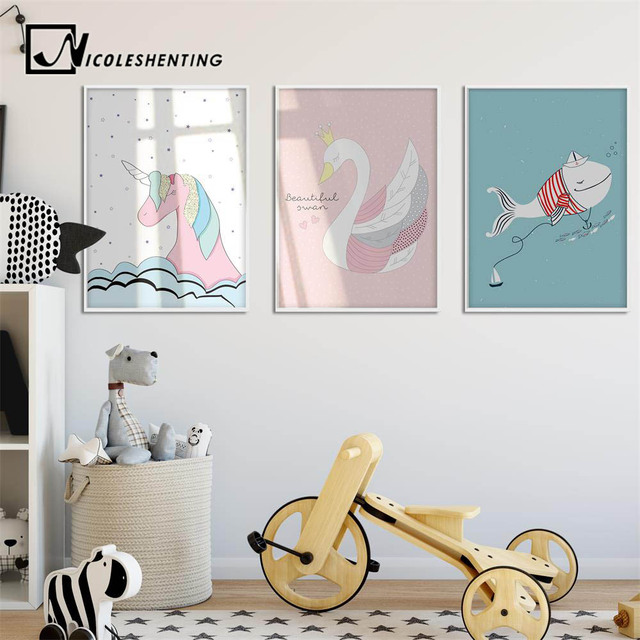 Swan Unicorn Whale Cartoon Poster Wall Art Canvas Prints Minimalist  Painting Nursery Pictures Kids Bedroom Decoration. Swan Unicorn Whale Cartoon Poster Wall Art Canvas Prints