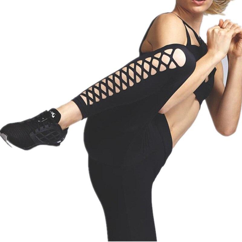 ★  Черные леггинсы с вырезом Активные беговые колготки для фитнеса Леггинсы для танцевальных танцев Брю ★