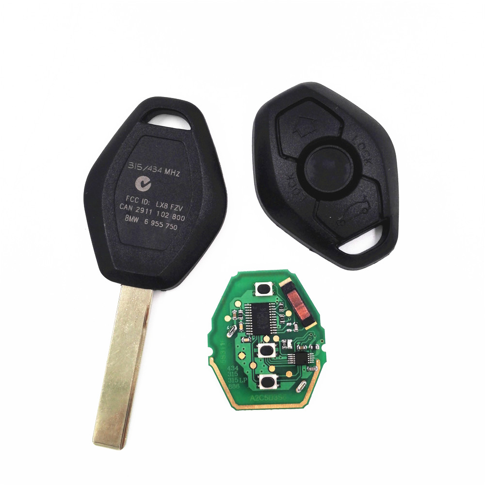 3 Buttons Straight Keyless Remote Key Control Fob Case 315 433MHZ 46 Electronic Chip for BMW