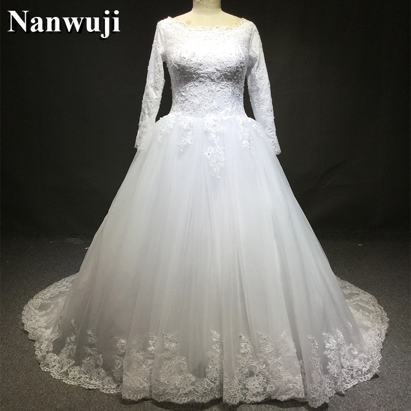 Traditional Wedding Gowns With Long Sleeves: 2017 Muslim Traditional Wedding Dress Long Sleeves Zipper