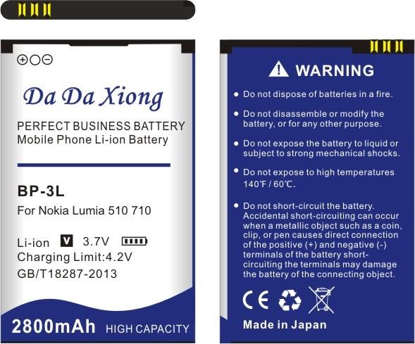 cac73ccfa36 Da Da Xiong 2800mAh BP3L BP 3L Battery for Nokia Lumia 710 510 603 610C 900  303 603 610 3030 505-in Mobile Phone Batteries from Cellphones ...