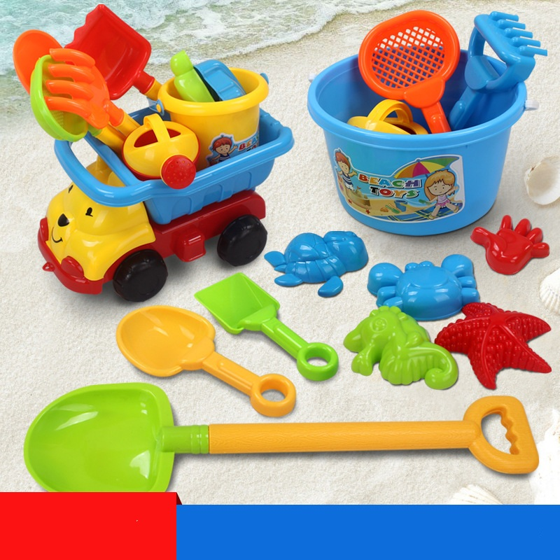 Plastic Truck Sand Beach Toys Kids Children Summer Seaside Bucket Shovel Rake Set Gifts Play Snow Tools Castle Ship Molds