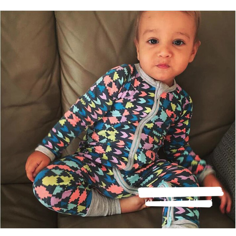 New 2017 Boy Girl Pajamas Spring Autumn Baby Cotton Geometry Printing Rompers Baby Long Sleeve Jumpsuit Coverall Baby Clothing boy girl rompers autumn baby cotton one pcs rompers baby long sleeve jumpsuit bebe coverall baby pajamas