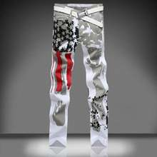 White 3D Printed Men Jeans Homme Unique Man Printing American Flag Jeans Cotton Large Size Skinny Jeans For Men Denim Overalls