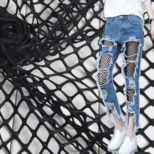 6900246c50 Negro Blanco elástico tela de malla grande hueco abajo camisa jeans  agujeros red de pesca costura