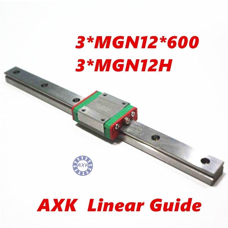 3D print parts cnc AXKMini MGN12 12mm miniature linear rail slide 1 Set=3pcs 12mm L-600mm rail+3pcs MGN12H carriage