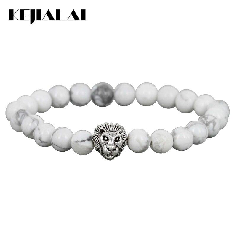 KEJIALAI 8mm Natural White Howlite Stone Beads Bracelet Antique Color Lion Head Bracelets High Grade Mens Jewelry M-L368