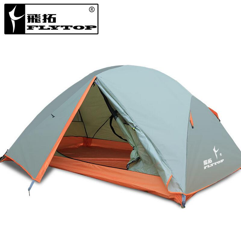 FLYTOP ultralight Outdoor tent 1-2 person recreation camping equipment Hiking Fishing Beach double layer tent waterproof 2.3kg yingtouman outdoor 2 person waterproof double layer tent fiberglass rod portable ultralight camping hikingtents
