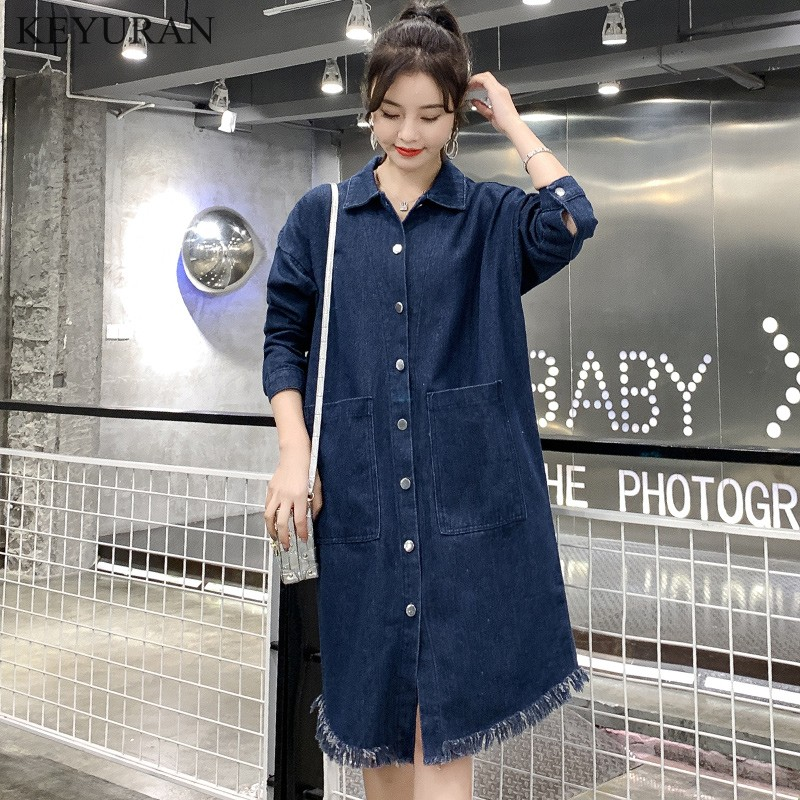 Women Denim Loose Trenchcoat Oversize Windbreaker Female Overcoat Spring Autumn Long Jeans   Trench   Coats Plus Size XXXXL L2862