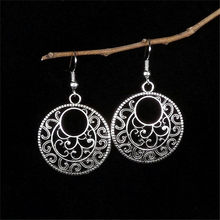 Lusion Jewelry Bohemian Vintage Ethnic Tibetan Silver Long Big Hollow Round Drop Earring Carved Flowers dangle Earrings Women(China)