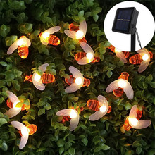20leds 30leds Solar Powered Cute Honey Bee Led String Light Outdoor Waterproof Garden Fence Patio Christmas