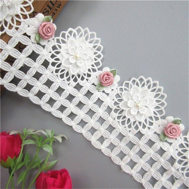 1 Meter 97 mét Trắng Sợi Sữa Ngọc Trai Hoa Ren Cạnh Trim Ribbon Vải Thêu Đính Kim Craft Wedding Dress quần áo