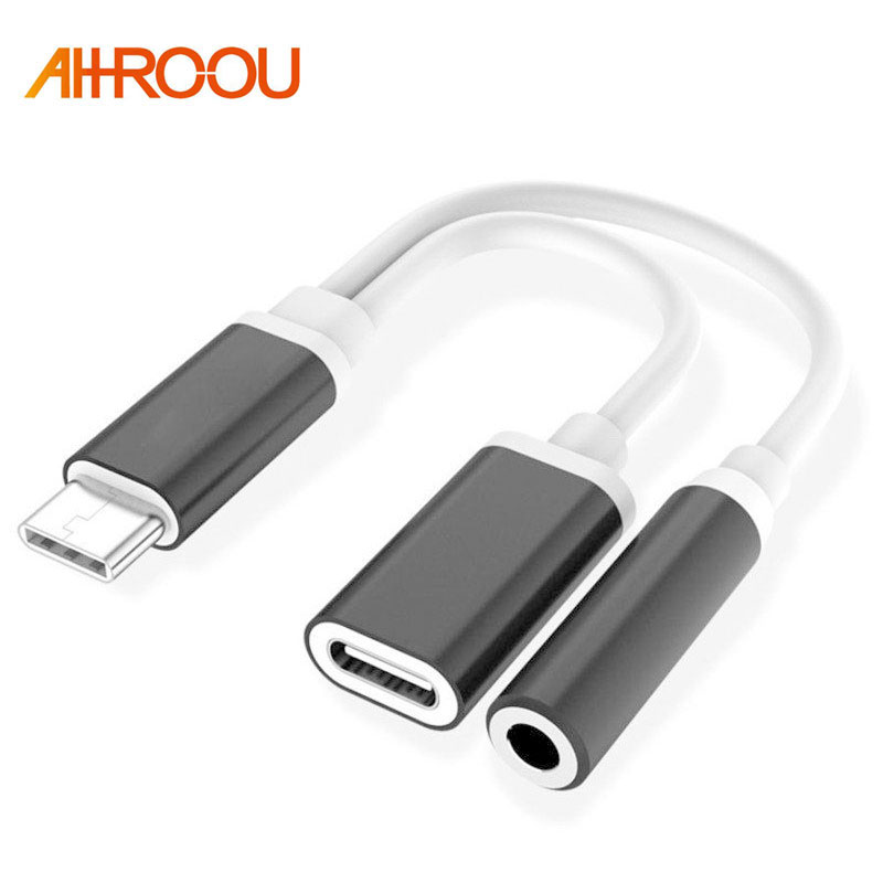 AHHROOU USB-C Cable USB Type C to 3.5mm Audio Jack Headphone Cable Charging Adapter For Letv 2/Xiaomi Mi6/Huawei Mate 10 Pro