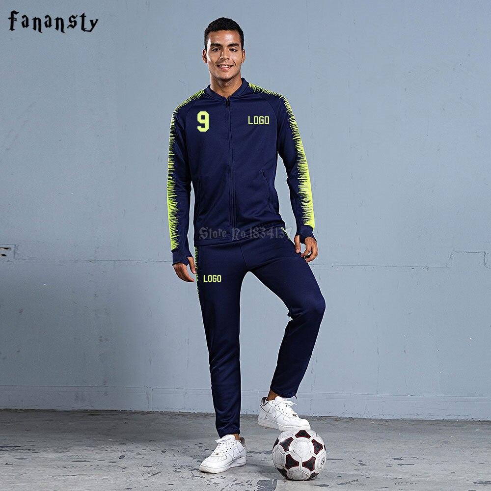 Homens de treino de futebol 2018 homens jaqueta de treinamento de futebol  esportes ternos adulto personalizar uniformes kits sportswear inverno  define novo ... f6a48a9b5c9c9