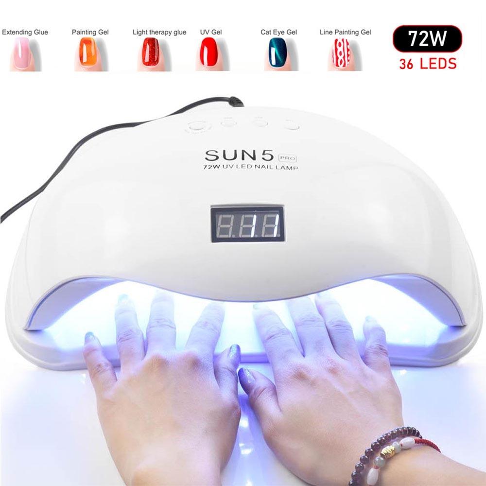 72W SUN5 Pro lámpara UV lámpara LED de uñas secador de uñas para todos los geles esmalte luz solar infrarrojo detección 10 /30/60 temporizador inteligente para manicura