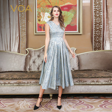 VOA Heavy Silk Jacquard Pleated Dresses Women Maxi Long Dress Slim High Waist Vintage Elegant Rococo Summer Short Sleeve A612