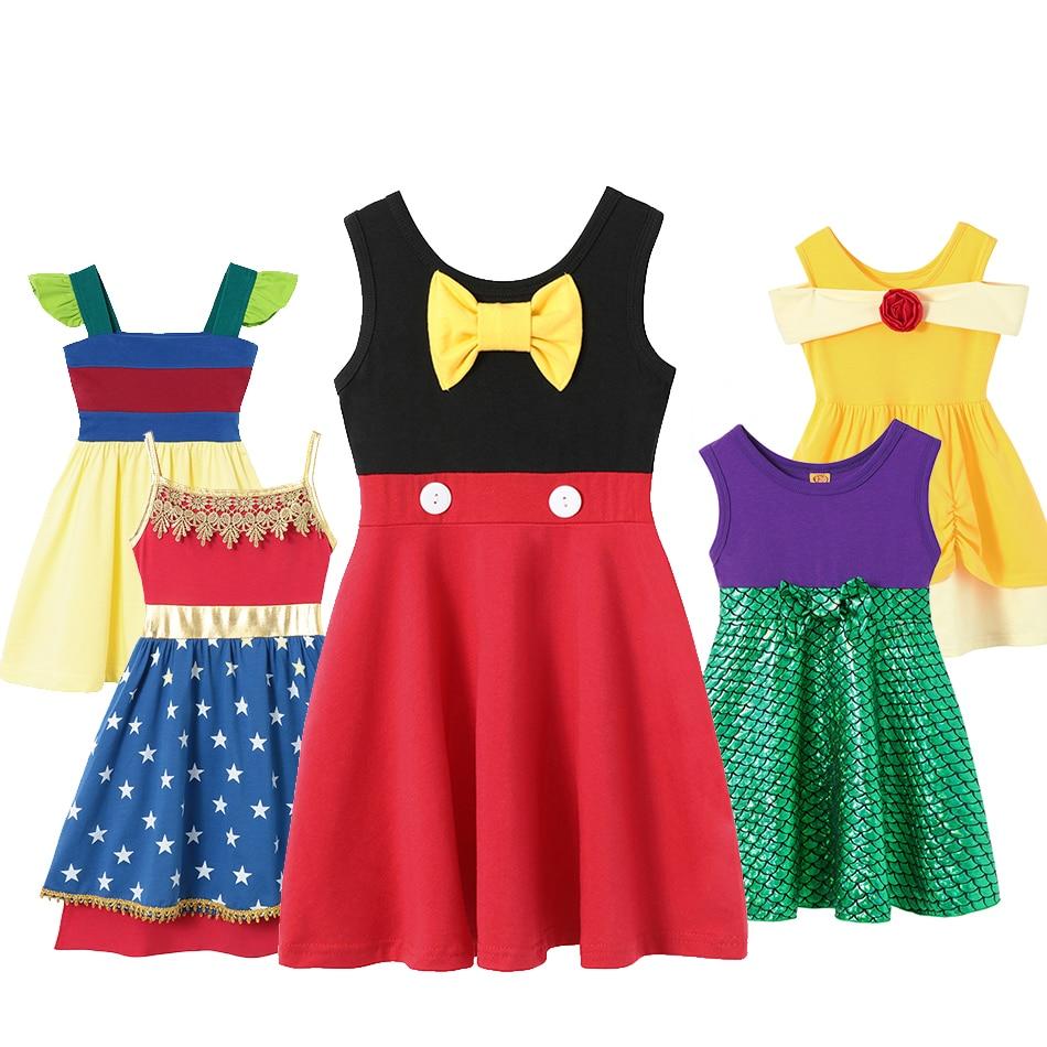 Mermaid Birthday Outfit Girls Costume Clothing Snow White Princess Dress Mickey