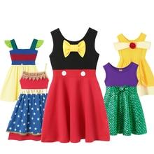 Girls Princess Dress Belle Minnie Mickey Snow White Elena Elsa Anna Rapunzel Ariel Cinderella Aurora Costumes Birthday Dresses