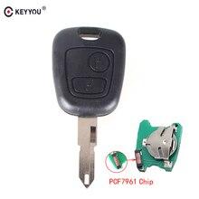 KEYYOU 2 пуговицы PCF7961 транспондер чип дистанционный Управление автомобиль ключ для peugeot 206 306 405 433 MHz Ключ с PCB Батарея NE73 лезвие