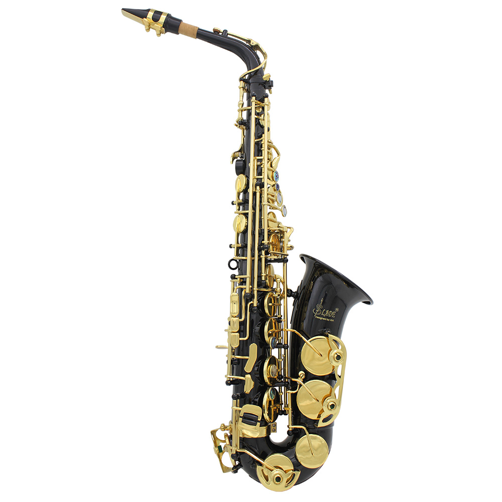 Brass Engraved Eb E Flat Alto Saxophone Sax Abalone Shell Buttons with Case Gloves Cleaning Cloth