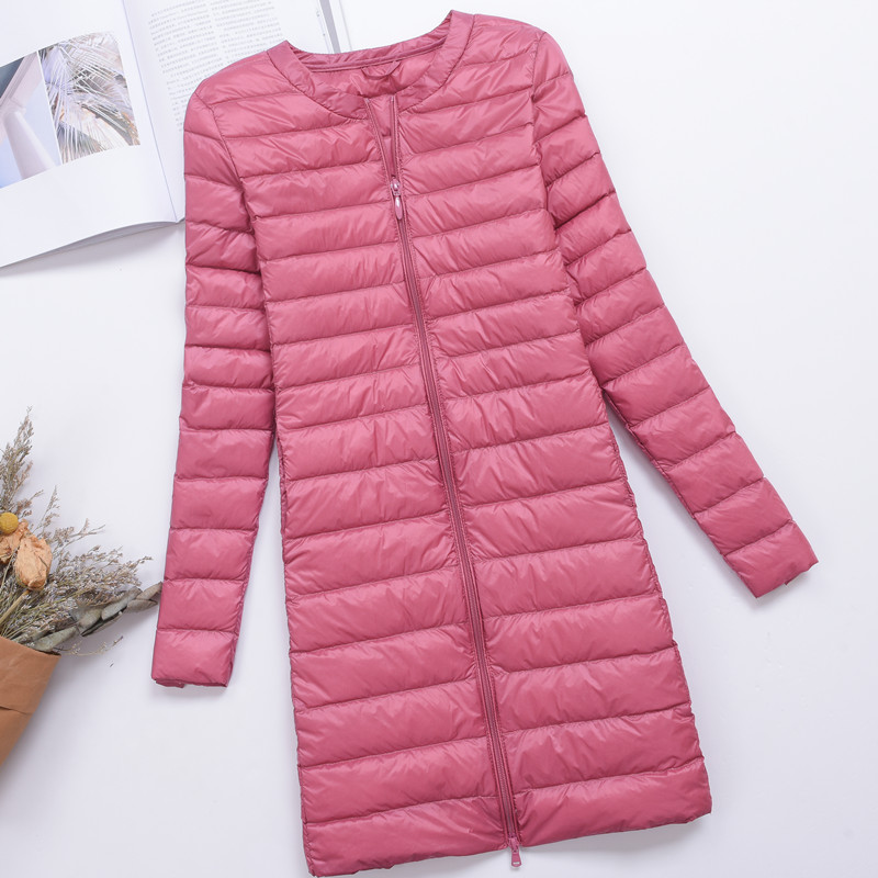 New Spring Autumn Ultra Light Long Down Coats Women White Duck Down Lightweight Parkas Female Warm Thin O-Neck Down Jacket Mw552