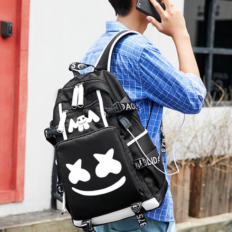 Image 5 - DJ Marshmallow рюкзак школьные рюкзаки для подростков мальчиков девочек школьные сумки USB многофункциональная дорожная светящаяся сумка для ноутбука-in Рюкзаки from Багаж и сумки