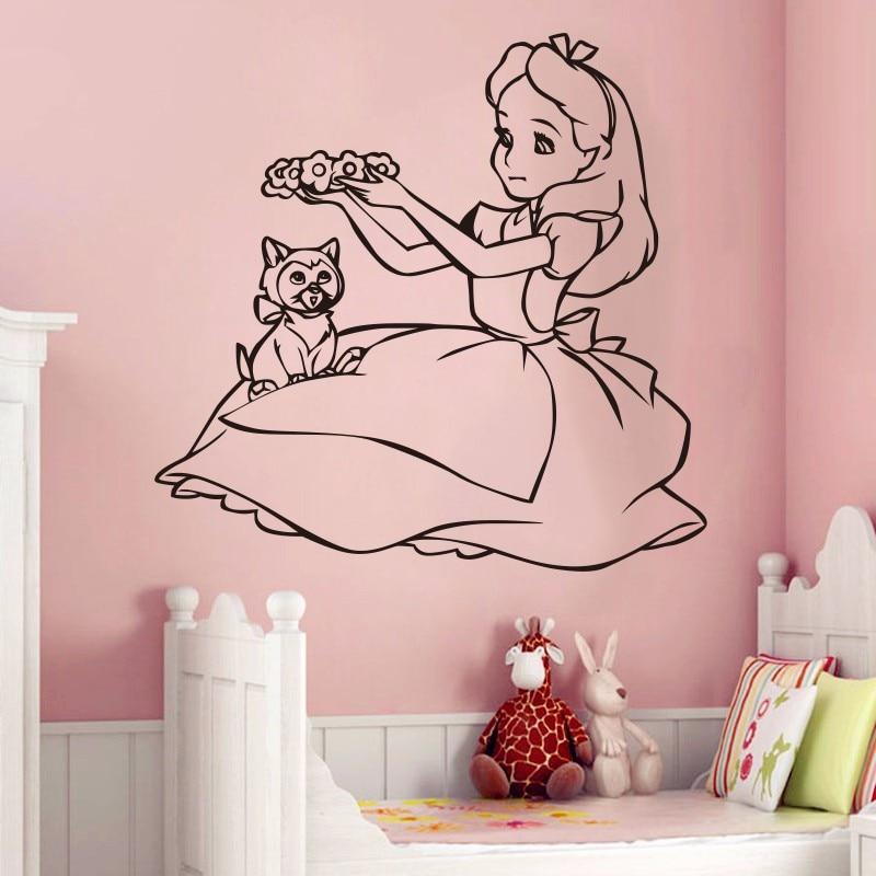 Cute Alice In Wonderland Wall Decal Vinyl Wall Sticker Cartoon Wall Art Design Housewares Room