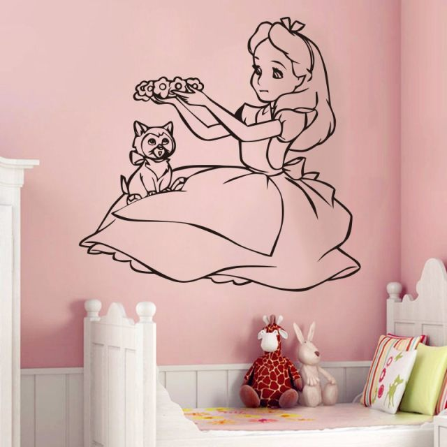 Cute Alice In Wonderland Wall Decal Vinyl Wall Sticker Cartoon Wall Art  Design Housewares Room Bedroom Decor Removable Art Decal