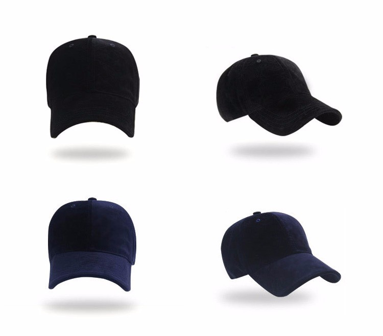 Soft Corduroy Baseball Cap - Black Cap and Dark Blue Cap Front and Front Angle Views