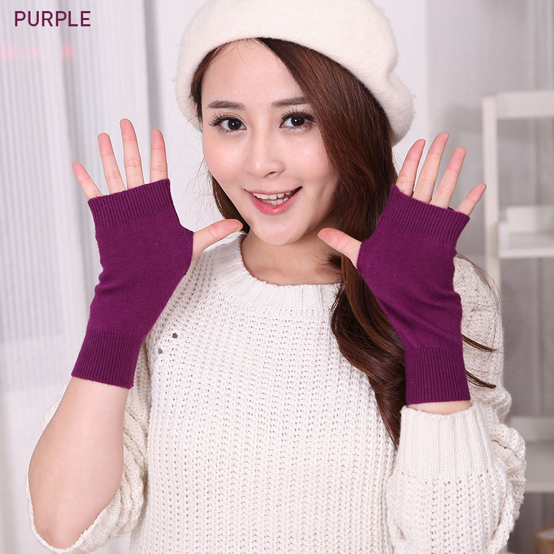 Sales Genuine Fine Sheep Wool Mitt Exposed Finger Women 39 s Gloves Winter Autumn Knitted for Women Fingerless Gloves Wrist Mittens in Women 39 s Gloves from Apparel Accessories