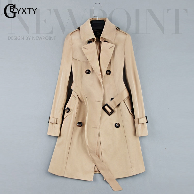 GBYXTY Womens Long   Trench   Coat 2018 Autumn Lady Office   Trench   Elegant Double Breasted Outwear Windbreaker casaco feminino ZA120