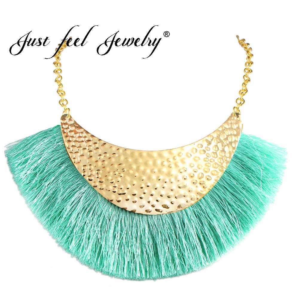 JUST FEEL Long Tassel Fringe Choker Necklace For Women 2018 Fashion Statement Jewelry 5 Colors Charm Boho Hot sale Chic Necklace