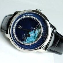 Relógio suíça masculino poniger, relógio de pulso mecânico automático japonês, indicador de cenário, P723 4