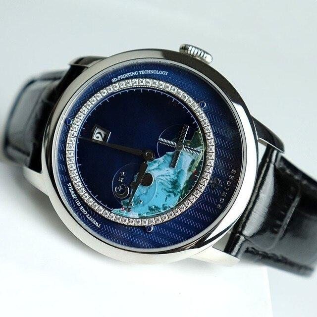 Zwitserland Top Luxe Merk PONIGER Mannen Horloge Japan Import Automatische Mechanische MOVT Horloges Landschap Dial Sapphire P723 4
