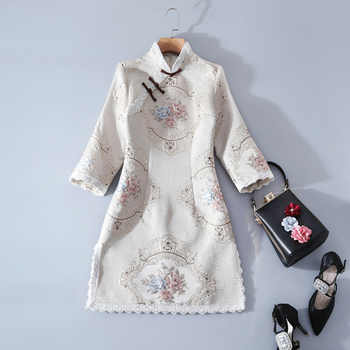 New Spring Clothing Girls National Daily Improved Cheongsam Stand Collar Plate Buttons Lace Short Dress Female - DISCOUNT ITEM  42% OFF All Category